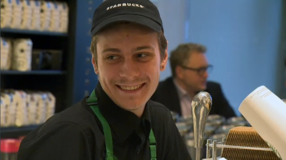 Nicolas Gagnon once lived on the street but turned his life around and now works at a Montreal Starbucks.