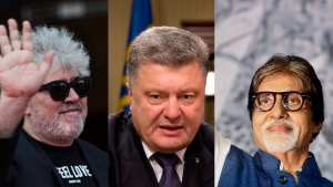 In this composite photo, director Pedro Almodóvar, Ukrainian Prime Minister Petro Poroshenko, and Bollywood actor Amitabh Bachchan are pictured. (AP Photos)