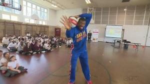 Bucket Brakes of the Harlem Globetrotters at Royal Vale school on April 5, 2016