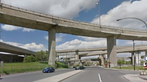 The Turcot Interchange, as seen from Notre Dame St. and the intersection of Monk Blvd.