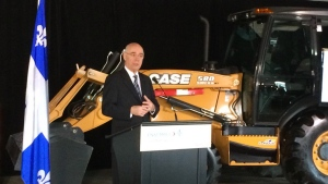 Jacques Daoust, Quebec's Transportation Minister, announces $4.7 billion in road construction on April 8, 2016 (CTV Montreal/Max Harrold)