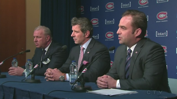 Canadiens coach Michel Therrien, GM Marc Bergevin, and owner Geoff Molson talk to reporters on April 11, 2016.