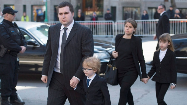 Jean-Michel Lapierre, son of Jean Lapierre arrives for the funeral of Jean Lapierre and Nicole Beaulieu in Montreal, Saturday, April 16, 2016. (Graham Hughes / THE CANADIAN PRESS)