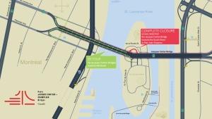 The Jacques Cartier Champlain Bridge Corporation is recommending this detour on Saturday April 23, 2016