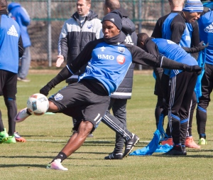 Montreal Impact striker Didier Drogba kicks a ball during the team's practice Friday, April 15, 2016 in Montreal. (Ryan Remiorz / The Canadian Press)