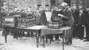 April 1929  Dr. Barnardo Children having their trunks inspected before leaving for Canada
