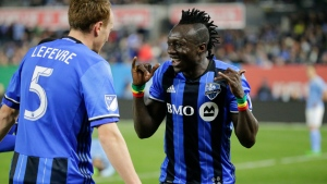 Dominic Oduro celebrates after scoring a goal in the second half of an MLS soccer game against New York City FC on Wednesday, April 27, 2016, at Yankee Stadium in New York.(AP Photo/Frank Franklin II)