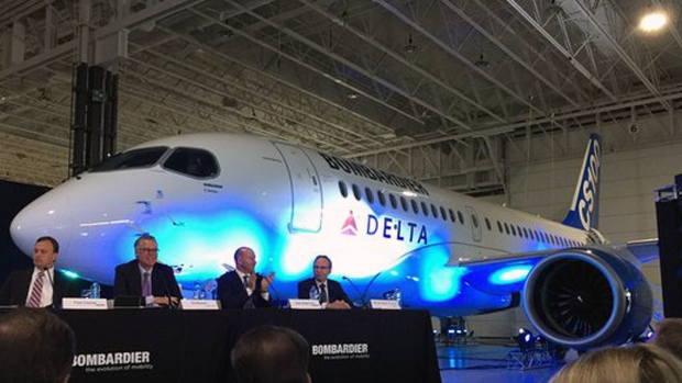 Bombardier executives present a CSeries 100 with the Delta Air Lines logo on April 28, 2016 (CTV Montreal/Rob Lurie)