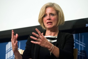 Alberta Premier Rachel Notley gives the 2015-2016 Thomas O. Enders Memorial Lecture on U.S.-Canadian Relations at the Johns Hopkins University School of Advanced International Studies in Washington on April 28, 2016. (Cliff Owen / AP Photo)