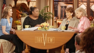 "This June 5, 2003 file photo shows co-hosts, from left, Meredith Vieira, Star Jones, Joy Behar and Barbara Walters on the set of ""The View"" in New York.  (AP Photo / Ed Bailey, File)"