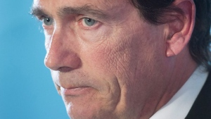 Parti Quebecois leader Pierre-Karl Peladeau announces his resignation at a news conference, Monday, May 2, 2016 in Montreal.THE CANADIAN PRESS/Ryan Remiorz