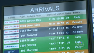 The arrival board at Halifax Stanfield International Airport. (CTV Atlantic)