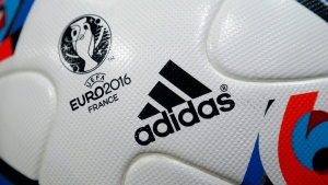 Adidas AG logo printed on the official UEFA Euro 2016 Cup soccer ball on May 12, 2016. (Matthias Schrader / AP)