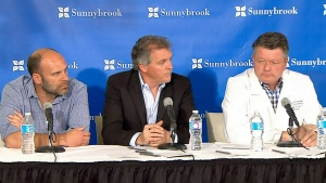 Dr. James Perry, head of neurology at Sunnybrook Health Sciences Centre, and The Tragically Hip managers Bernie Breen and Patrick Sambrook provide an update on Gord Downie's cancer diagnosis on May 24, 2016.