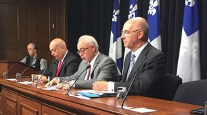 Former Transportation Minister Robert Poeti, Finance Minister Carlos Leitao, and Transportation Minister Daoust (CTV Montreal/Maya Johnson)