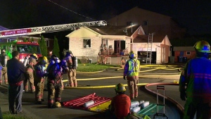Fire started on the front porch of this house on Alfred St. in Brossard (CTV Montreal/Cosmo Santamaria)