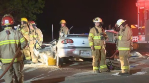 A woman in her 20s is in critical condition after colliding with a tractor-trailer in La Prairie on Friday night.