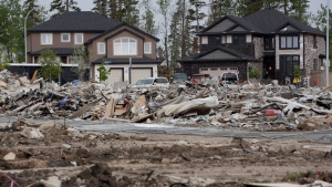 The devastated neighbourhood of Timberlea in Fort McMurray Alta. is shown on Wednesday June 1, 2016. (THE CANADIAN PRESS/Jason Franson)
