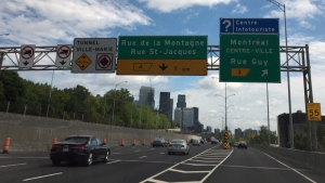 The Guy St. exit from Highway 720 East closes on Sunday June 12, 2016. (CTV Montreal/JL Boulch)