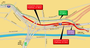 The detours and closures for the weekend of June 24, 2016