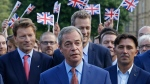 Nigel Farage, the leader of the UK Independence Party speaks to the media on College Green in London, Friday, June 24, 2016. (AP / Matt Dunham)