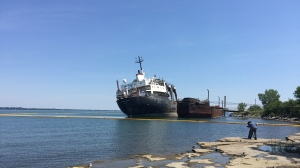 The Kathryn Spirit has sat off the coast of Beauharnois in Lac St-Louis since 2011. (Photo CTV Montreal/Angela MacKenzie)