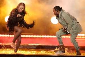 "Beyonce, left, and Kendrick Lamar perform ""Freedom"" at the BET Awards at the Microsoft Theater on Sunday, June 26, 2016, in Los Angeles. (Photo by Matt Sayles/Invision/AP)"