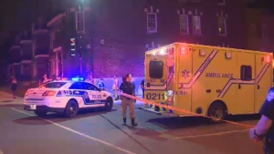 A 21-year-old woman is in hospital after being struck by a truck at the corner of Papineau and Sherbrooke.