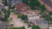 Aerial view from CTV News Toronto helicopter shows a massive debris field on Hickory Drive after multiple homes exploded in central Mississauga on Tuesday, June 28, 2016.