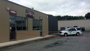 Police searching Nitro-Gym in Granby in connection with a presumed drug ring. So far 47 people have been arrested. (CTV Montreal/Tania Krywiak)