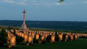 Grave stones are pictured at Thiepval Memorial, northern France, during a military-led vigil to commemorate the 100th anniversary of the beginning of the Battle of the Somme one of the deadliest chapters of World War I, Thursday, June 30, 2016. (AP Photo/Francois Mori)