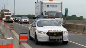 The Sureté du Quebec patrol in a construction zone on July 14, 2016