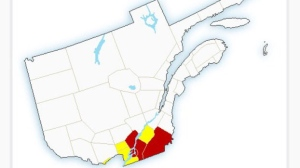 A thunderstorm warning is in effect for the Island of Montreal and Laval (photo via Environment Canada)