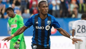 Montreal Impact's Didier Drogba celebrates after scoring against the Philadelphia Union during first half MLS soccer action in Montreal, Saturday, July 23, 2016. THE CANADIAN PRESS/Graham Hughes