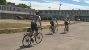 Three men are using a bike trip across Canada to spread a message against human trafficking and forced prostitution.