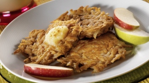 Yukon Gold Potato Pancakes are a treat any time of the day. (THE CANADIAN PRESS / PEI Potatoes)