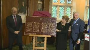 NDG-Westmount MP Marc Garneau and Westmount Mayor Peter Trent were on hand to receive the plaque.