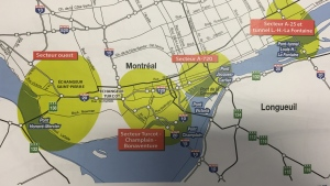 The areas of major roadwork in Montreal during the fall of 2016 (CTV Montreal/Angela MacKenzie)