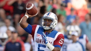 Kevin Glenn threw five touchdowns in Ottawa on Friday August 19, 2016 (THE CANADIAN PRESS/Justin Tang)