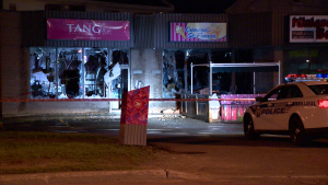 The Laval police department's arson squad is investigating a suspicious fire at an ice cream store which was allegedly started by a Molotov cocktail early Tuesday morning. (Photo: CTV Montreal/Cosmo Santamaria)