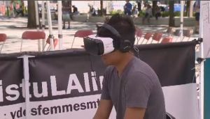 Jovan Caroro watched a virtual reality video about sexual consent.