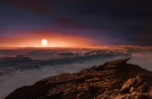 This artist rendering provided by the European Southern Observatory shows a view of the surface of the planet Proxima b orbiting the red dwarf star Proxima Centauri, the closest star to the Solar System. The double star Alpha Centauri AB also appears in the image to the upper-right of Proxima itself. (European Southern Observatory via AP)