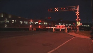 AMT train level crossing Montreal