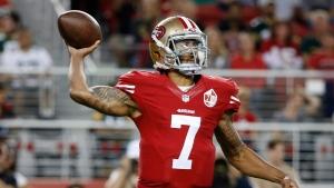 San Francisco 49ers quarterback Colin Kaepernick throws the ball during the first half of an NFL preseason football game against the Green Bay Packers on Friday, Aug. 26, 2016, in Santa Clara, Calif. (AP Photo/Tony Avelar)