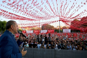 Turkey's President Recep Tayyip Erdogan addresses a rally in Gaziantep, Turkey, Sunday, Aug. 28, 2016. (Kayhan Ozer, Presidential Press Service, Pool via AP)