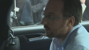 Jonathan Bettez, 36, arrives at the Trois-Rivieres courthouse on Tuesday. Bettez was charged with six counts of possessing and distributing child pornography.