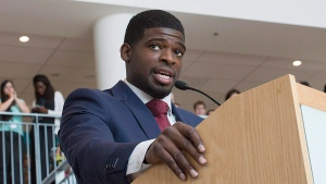 Montreal Canadiens defenceman P.K. Subban smiles during a press conference at the Children's Hospital in Montreal, Wednesday, Sept.16, 2015, where he announced that his foundation would pledge $10-million to the hospital over the next seven years. (Graham Hughes / THE CANADIAN PRESS)