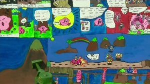Kirby-based artwork by the kids at Montcalm Elementary was on display on Sept. 2, 2016