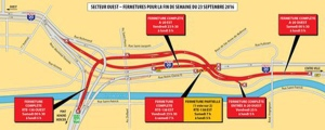 Motorists should be prepared for major traffic backups as Highway 20 is closed all weekend. (Map via Transport Quebec)