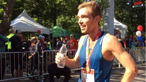 Icelandic runner Kari Steinn Karlsson has won first place in the 2016 Montreal Marathon. (Photo: CTV Montreal/Rob Lurie)